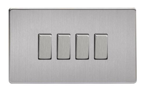 Varilight XDS9S Screwless Brushed Steel 4 Gang 10A 1 or 2 Way Rocker Light Switch